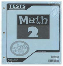 BOB JONES MATH 2 TESTS A.K.