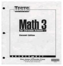 BOB JONES MATH 3 TESTS A.K.