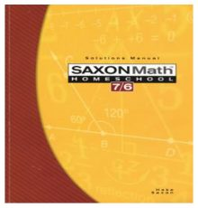 SAXON MATH 7/6 SOLUTIONS MANUAL